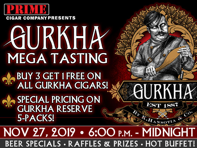 Gurka Mega Tasting: Nov. 29, 2019 6:00 p.m. - MIDNIGHT